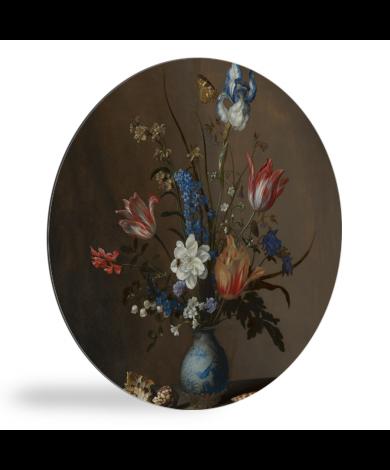 Bloemen in een Wan-Li vaas en schelpen - Schilderij van Balthasar van der Ast wandcirkel