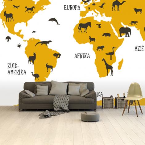 Dieren geel behang