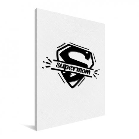 Moederdag - Supermom zwart wit Canvas