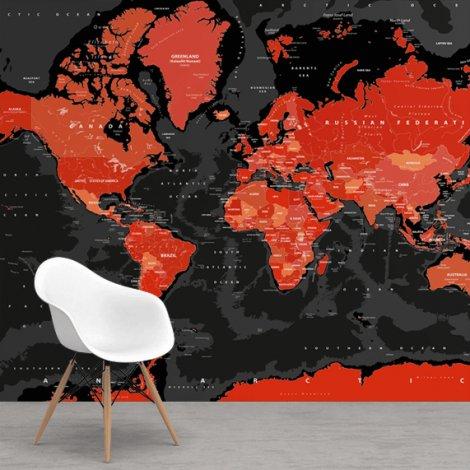 Rood-zwart behang