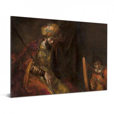 Saul en David - Schilderij van Rembrandt van Rijn Aluminium