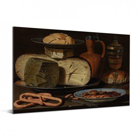 Stilleven met kazen amandelen en krakelingen - Schilderij van Clara Peeters aluminium