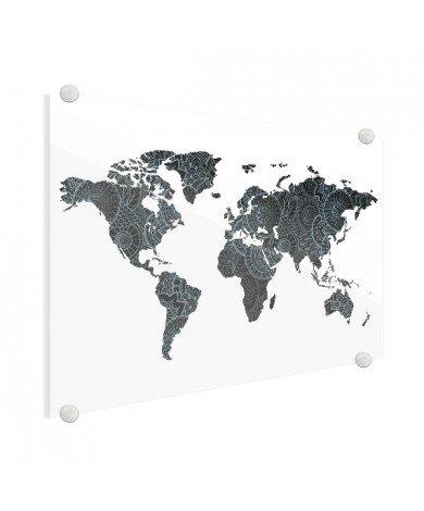Aziatische print zwart-blauw plexiglas