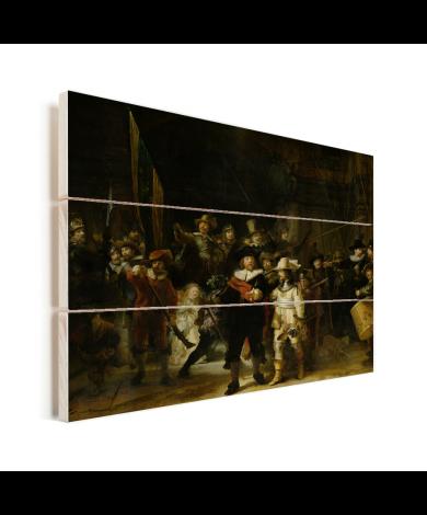 De Nachtwacht - Schilderij van Rembrandt van Rijn Vurenhout met planken