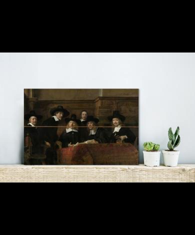 De staalmeesters - Schilderij van Rembrandt van Rijn Vurenhout met planken