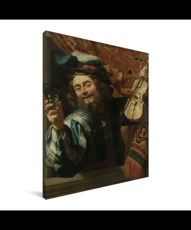 Een vrolijke vioolspeler - Schilderij van Gerard van Honthorst Canvas