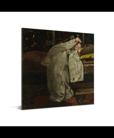 Meisje in witte kimono - Schilderij van George Hendrik Breitner Aluminium