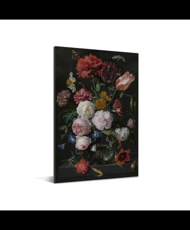 Stilleven met bloemen in een glazen vaas - Schilderij van Jan Davidsz de Heem aluminium