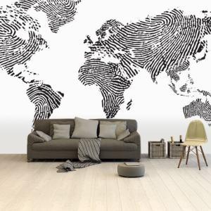 Papier peint photo avec carte du monde