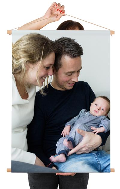 Photo sur poster textile avec une famille