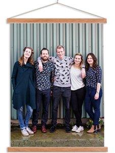 Photo sur poster textile avec des amis
