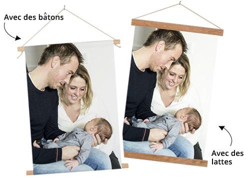 Photo sur poster textile avec des batons ou des lattes
